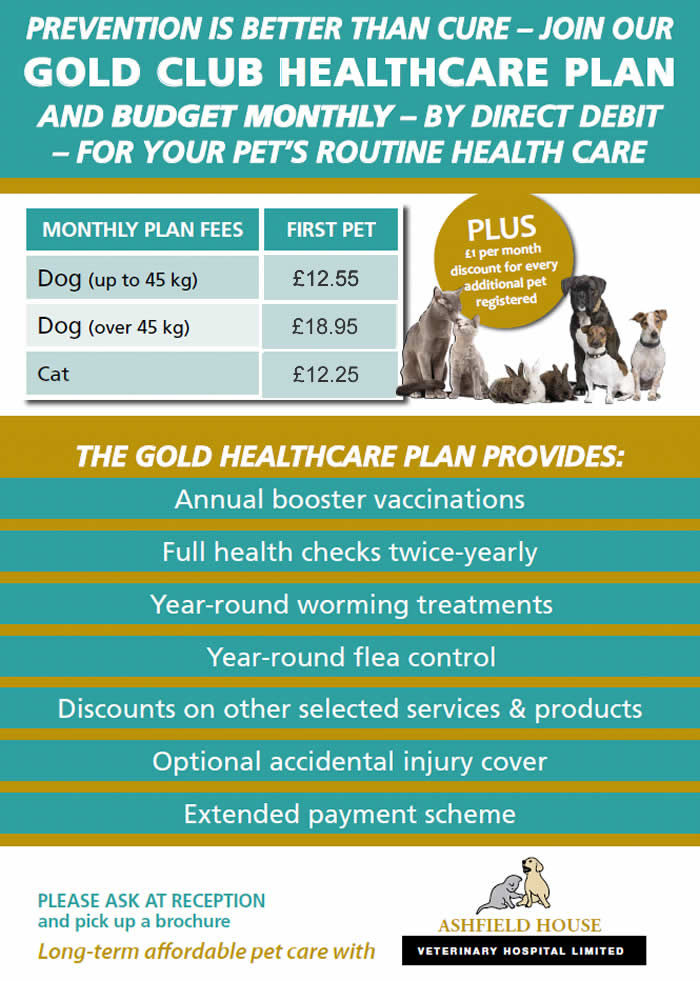 Gold Club at Ashfield House Vets list of benefits