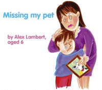 Missing my pet book with mother and sad son animated