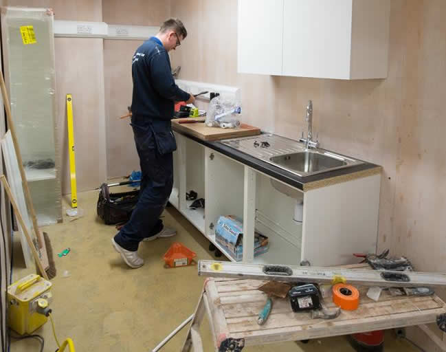 Building work starts in Long Eaton Ashfield House new vet hospital new cabinets being made by carpenter