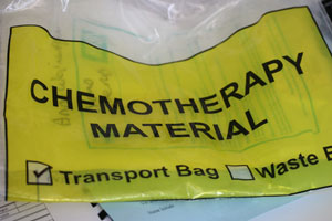 Chemotherapy yellow plastic bag at Ashfield House Vets