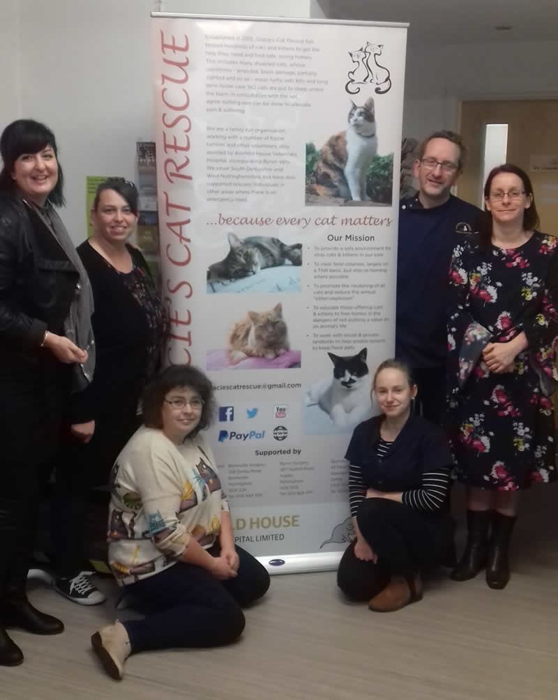 Gracie's volunteers Emily, Louise & Jen, Ashfield's Leah & John and Gracie's owner Kat Singleton Carby