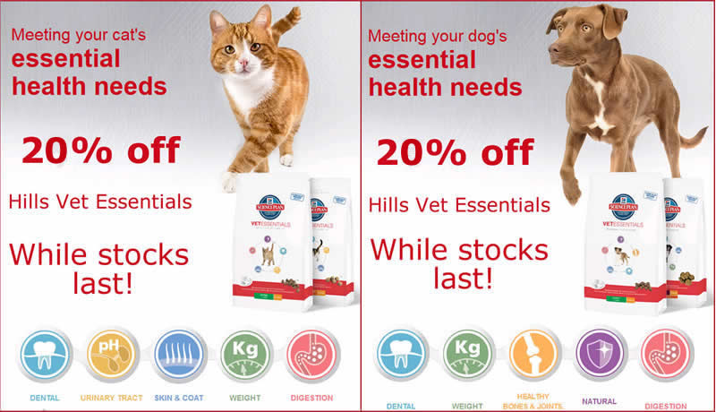Dog and cat and images of Hills Vet Essential food bags