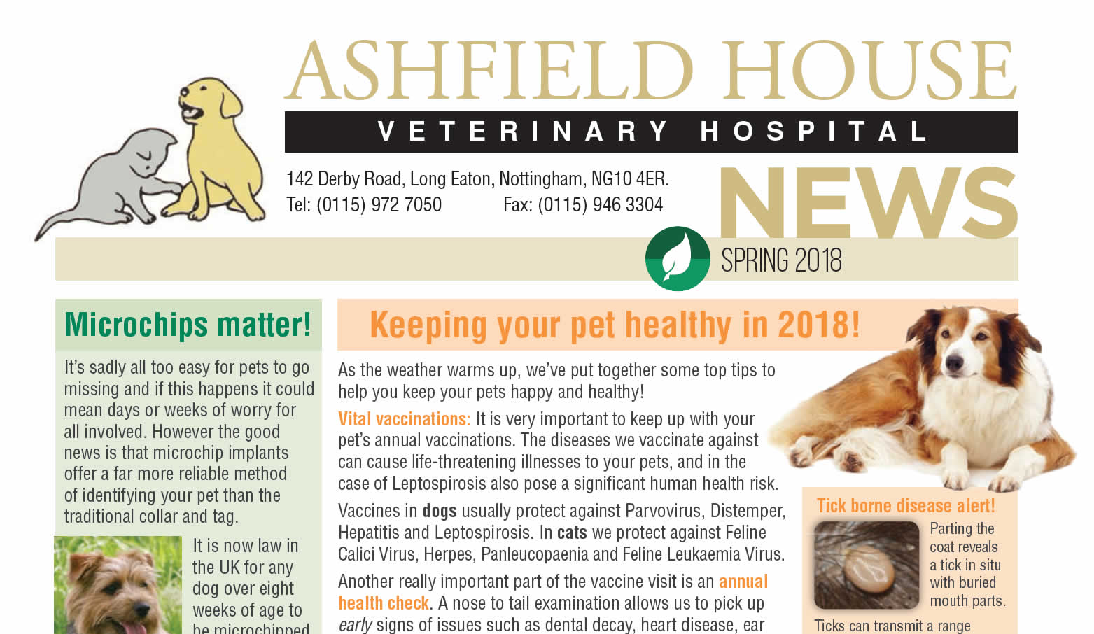 Spring 2018 Newsletter at ashfield house vets